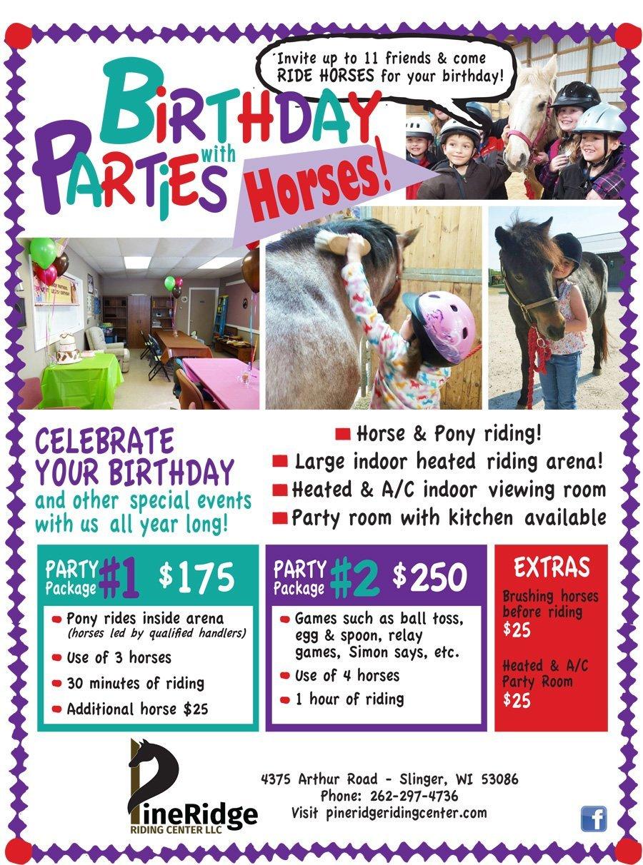 Birthday Parties Pony Rides Slinger Wi