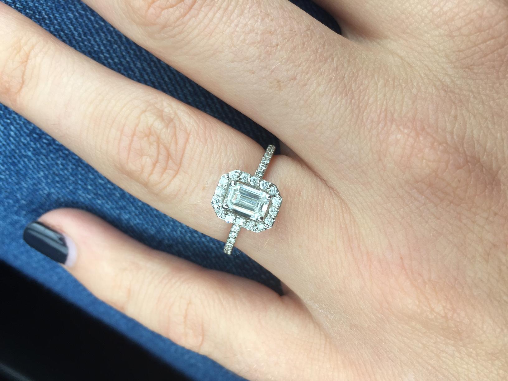 My 07ct Emerald Cut Diamond With Delicate Halo