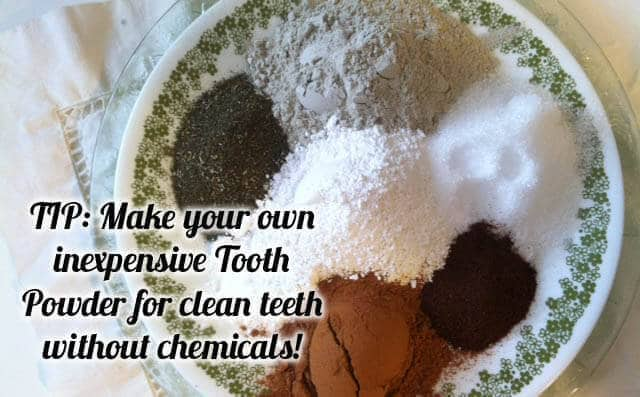 make your own inexpensive tooth powder for clean teeth without chemicals