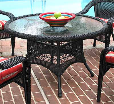 resin wicker dining table 48 round