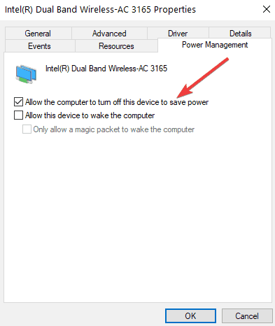 allow computer to turn off wifi to save power