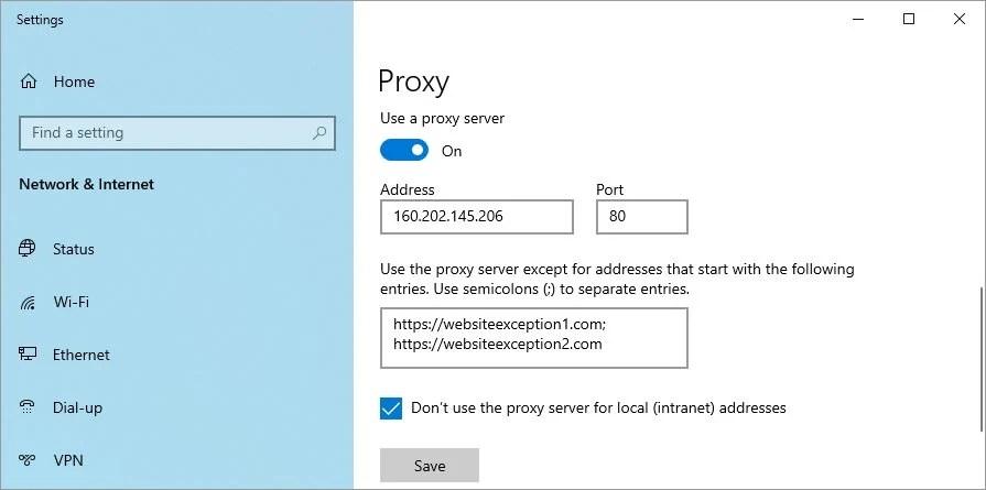 manually set up proxy settings on Windows 10