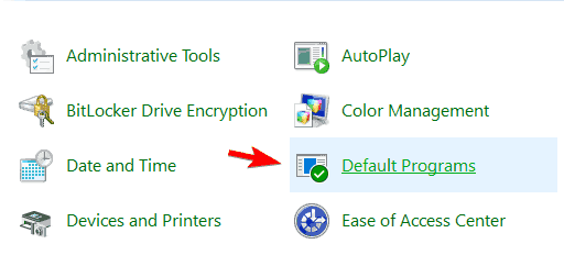 default programs control panel png thumbnails not showing windows 10