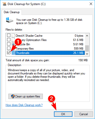 select thumbnails disk cleanup some thumbnails not showing windows 10