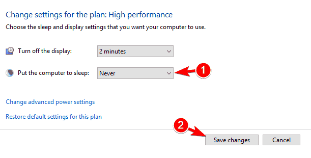 Unexpected Store Exception hard drive disable sleep mode