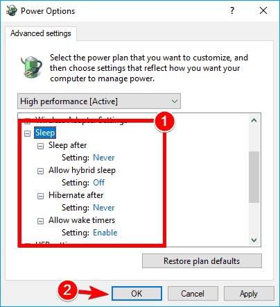 Unexpected Store Exception while gaming disable sleep mode in advanced settings