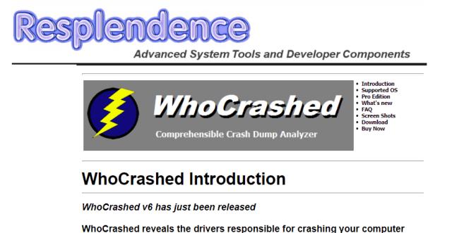 whocrashed software