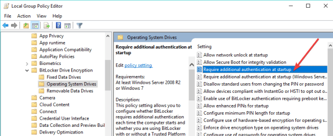 bitlocker Require additional authentication startup