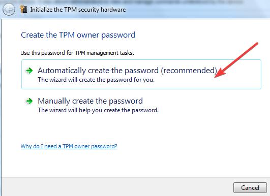 enter TPM owner password