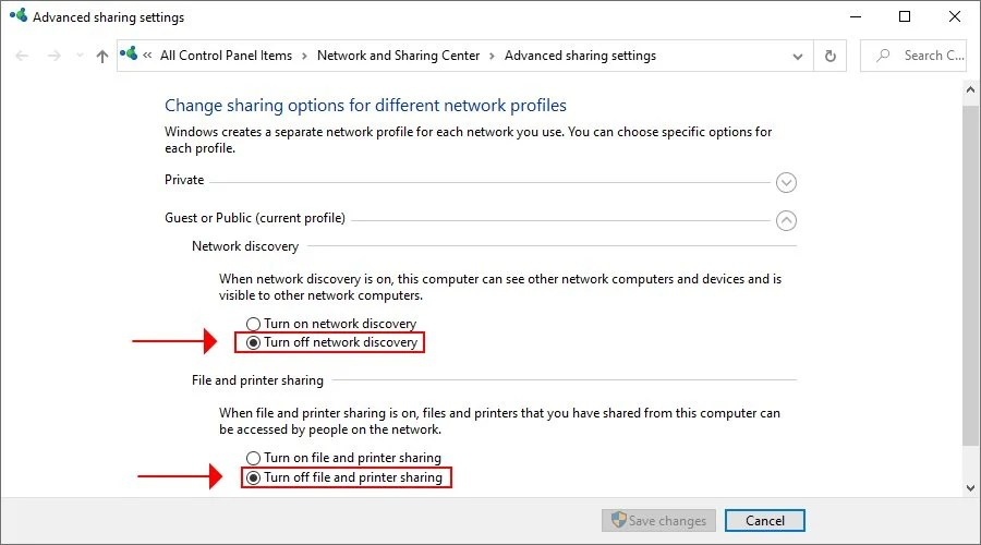how to turn off network discovery, file and printer sharing