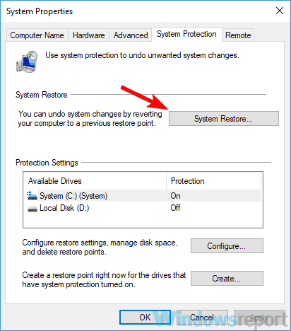 system restore button media center not working