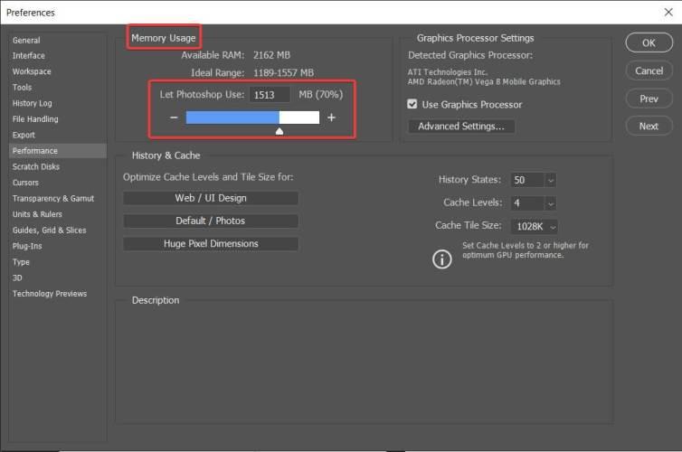 increase ram in photoshop scratch disk error