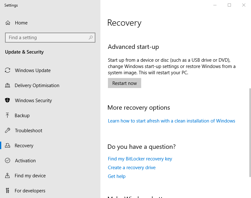 Restart now button how to enter recovery mode windows 10