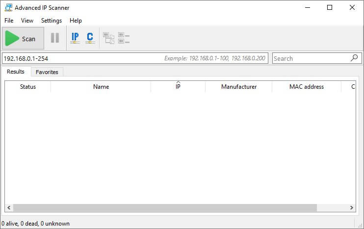 Advanced IP Scanner main screen