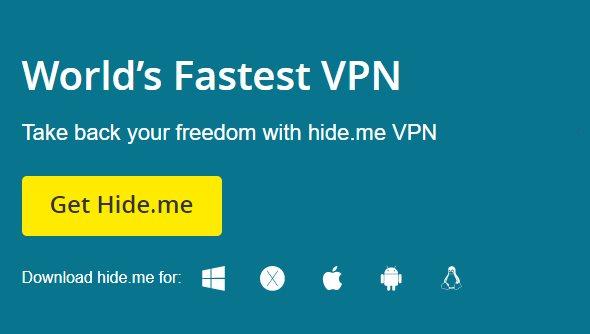 Hide.me VPN homepage