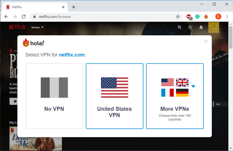 Select one of the Netflix servers provided by Hola VPN