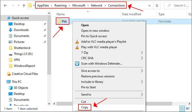 copy the Windows 10 Pbk folder