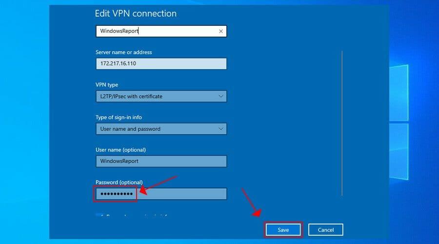 set VPN password in Windows 10