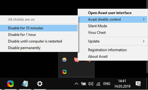 Avast shields control options windows 10 compatibility troubleshooter not working