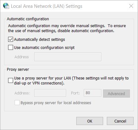 The Local Area Network window windows update code 800b0100