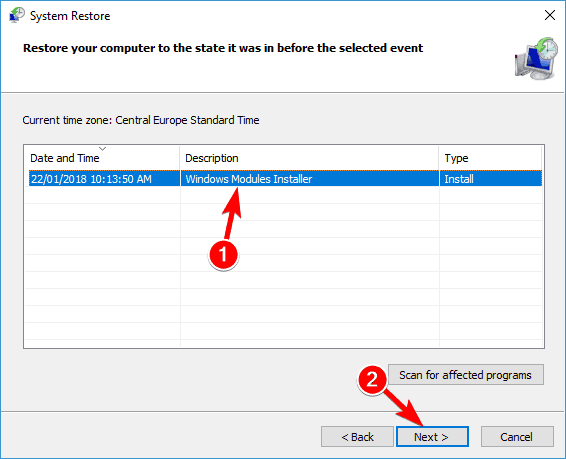 select restore point twinui not working