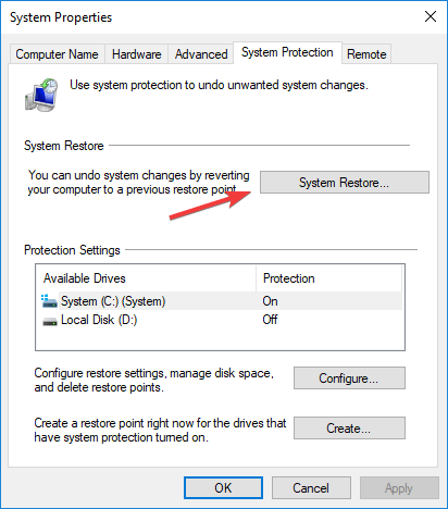 system restore twinui not working