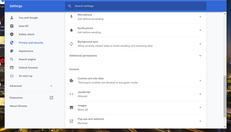 Content settings facebook games not loading in browser