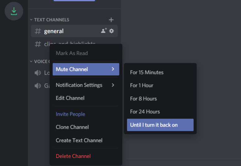 Mute Channel options discord red dot