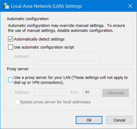 The Use a proxy server option windows 10 ethernet keeps disconnecting