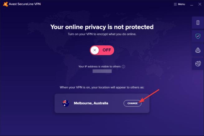 Avast SecureLine shows change server