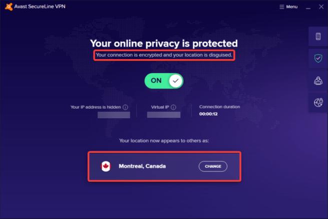 Avast SecureLine shows server changed