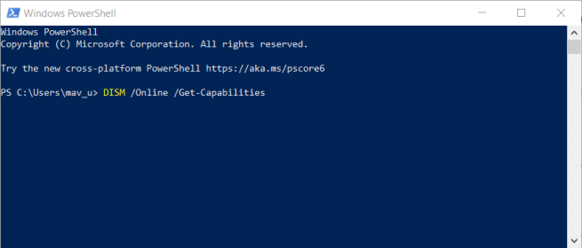 PowerShell window can't install windows media feature pack