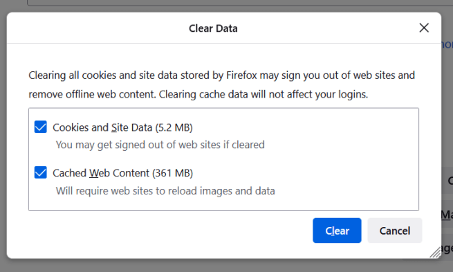 Firefox's Clear Data tool turbotax won't let me efile