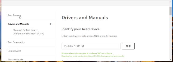 Device serial number box how to update drivers acer predator helios 300