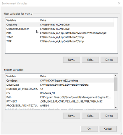 Environment Variables window install oracle odbc driver windows 10