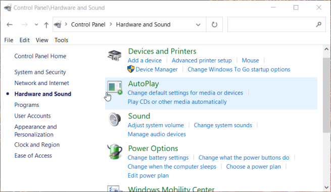 The Hardware and Sound applets computer screen goes black for a second then comes back