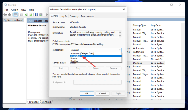 Automatic option windows 11 search indexing was turned off