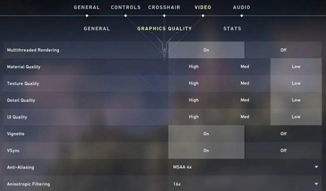 Valorant's graphics options windows 11 valorant fps drops