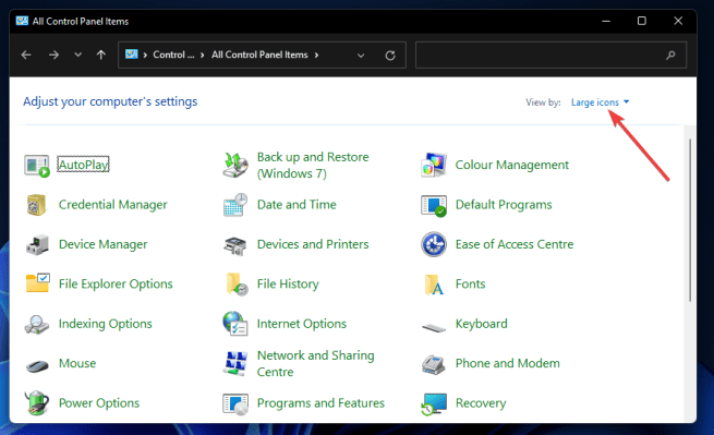 Large icons option windows 11 search indexing was turned off