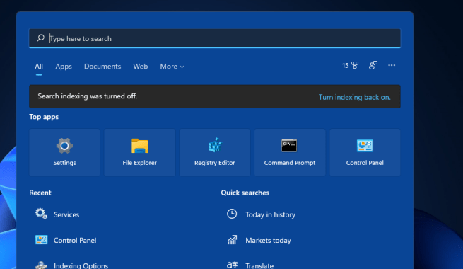 Search indexing was turned off error windows 11 search indexing was turned off