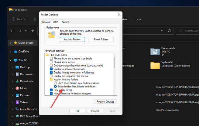 The Show hidden files, folders and drives option windows 11 search indexing was turned off