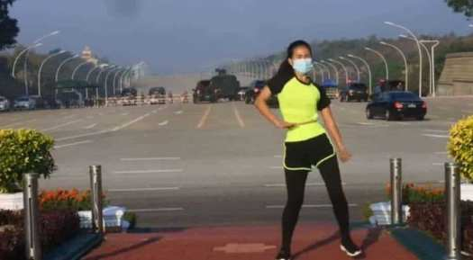 Watch: Aerobics instructor does her routine as Myanmar ...