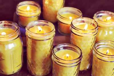 beeswax candle mason jar