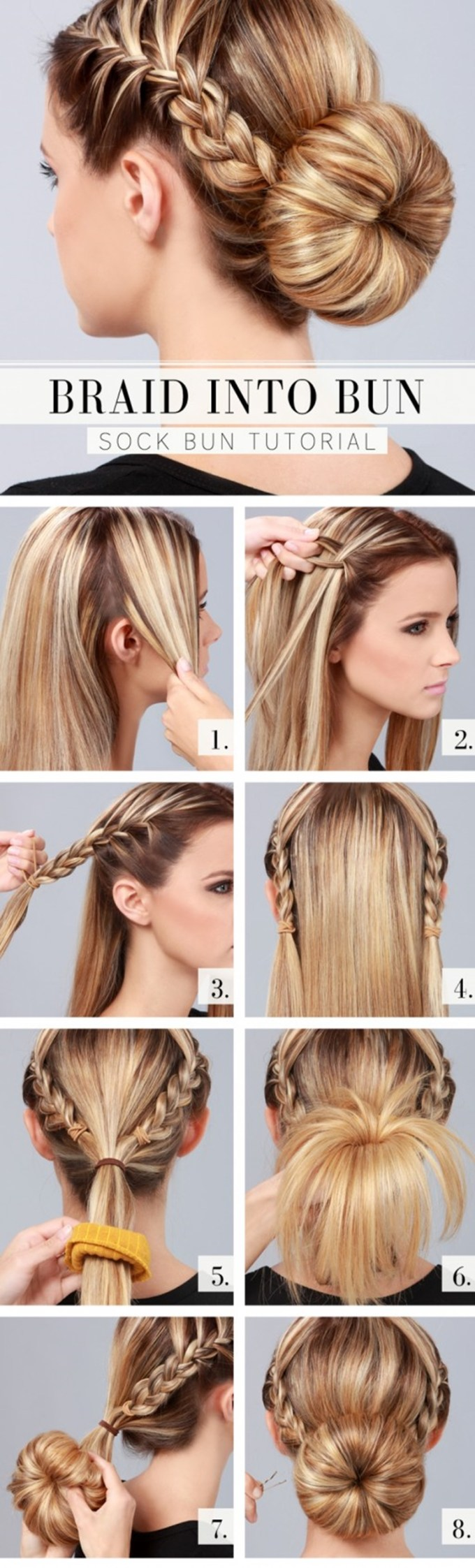 wonderful diy braid into bun hairstyle