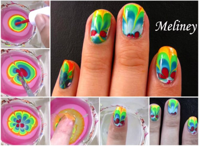 Nail Art Tutorial Feather Water Marble