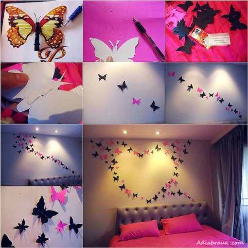 Bright and Beautiful Butterfly Wall Art VIEW IN GALLERY How to DIY Butterfly Wall Decoration Bright and Beautiful  Butterfly Wall Art