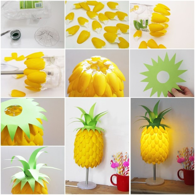 10 clever crafts using plastic spoons - fun pineapple lamp