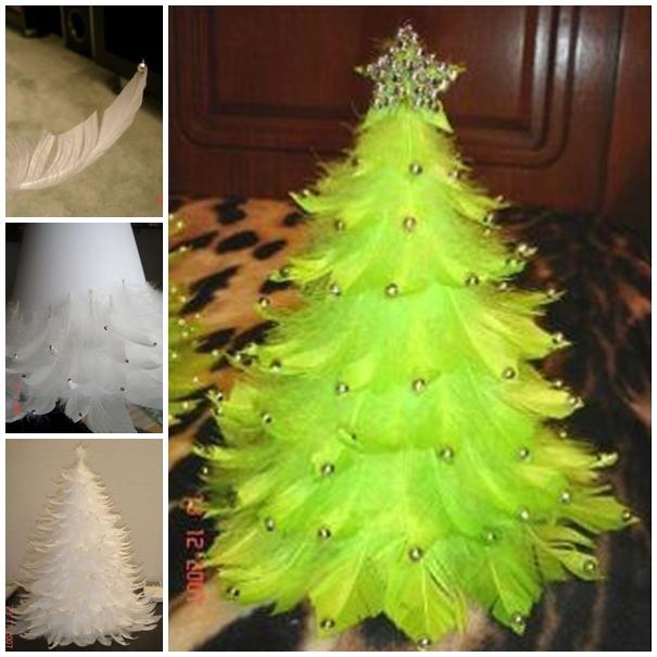 Wonderful DIY Unique Feather Christmas Tree