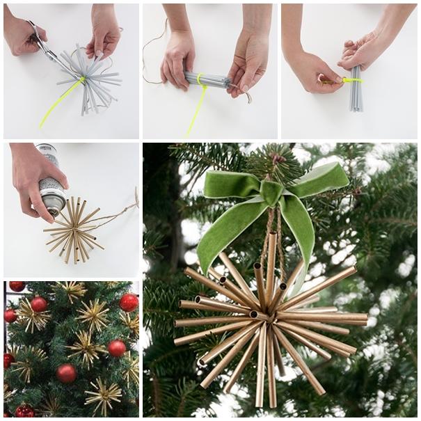 Wonderful DIY Gold Star Ornaments From Drinking Straw