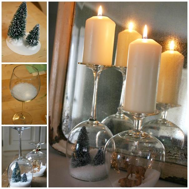Wonderful DIY Stemware Snow Globes Candle Holder